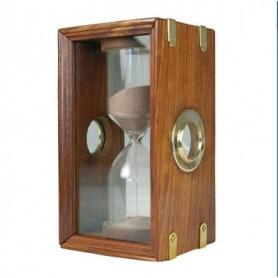 Reloj de arena náutico en vitrina de cristal y madera con latón