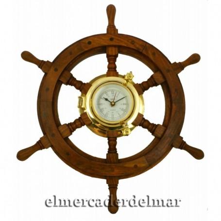 Reloj ojo de buey náutico rueda de timón