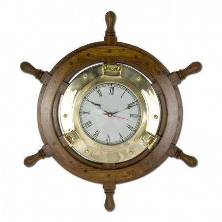 Reloj ojo de buey con rueda de timón