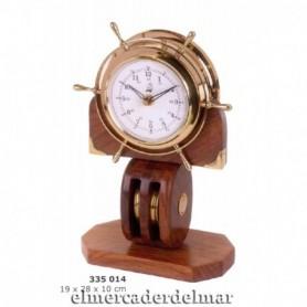 Reloj náutico cuadernal en madera y latón envejecido