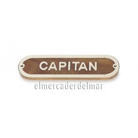 Placa marinera de madera y latón Capitán