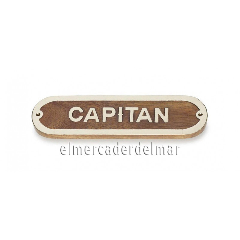 Placa marinera de madera y lat n capit n - Placa de madera ...