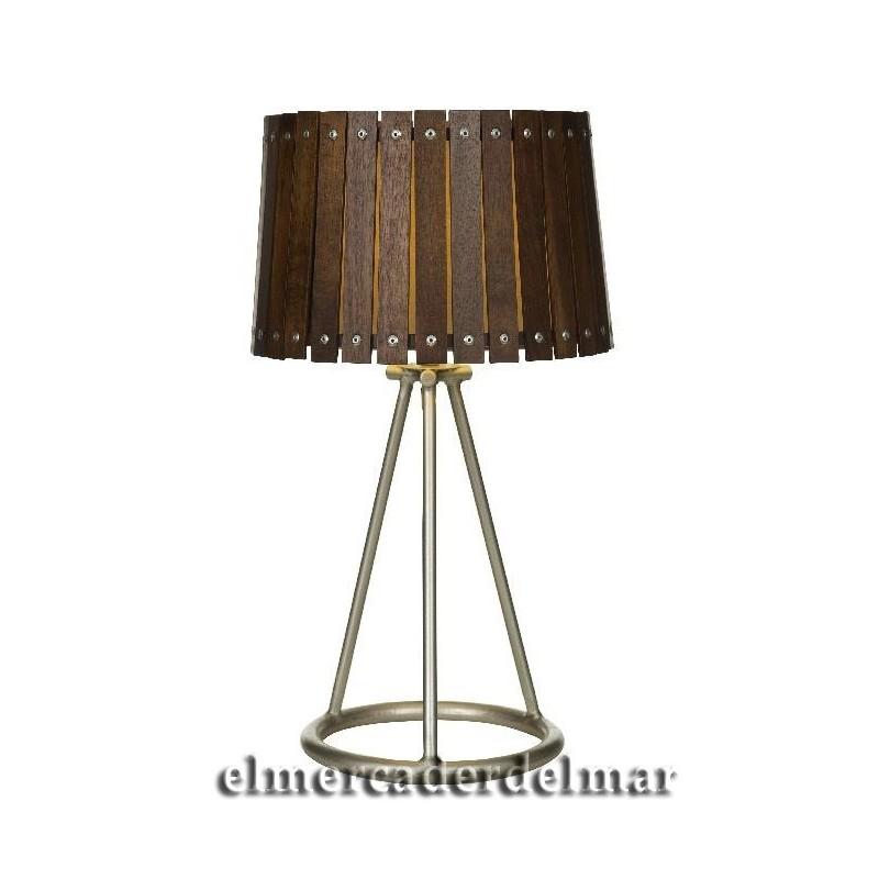 L mpara n utica sobremesa pantalla madera - Pantallas para lamparas de sobremesa ...