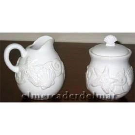 Azucarero y jarrita marineras de ceramica
