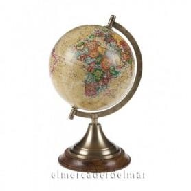 Globo terrestre mapamundi sobre peana
