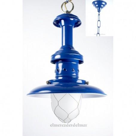 Lámpara de pescador náutica en azul marino