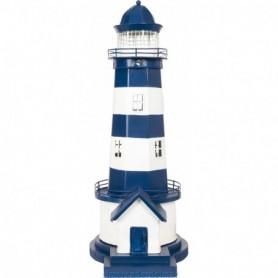 Faro costero a rayas blanco y azul