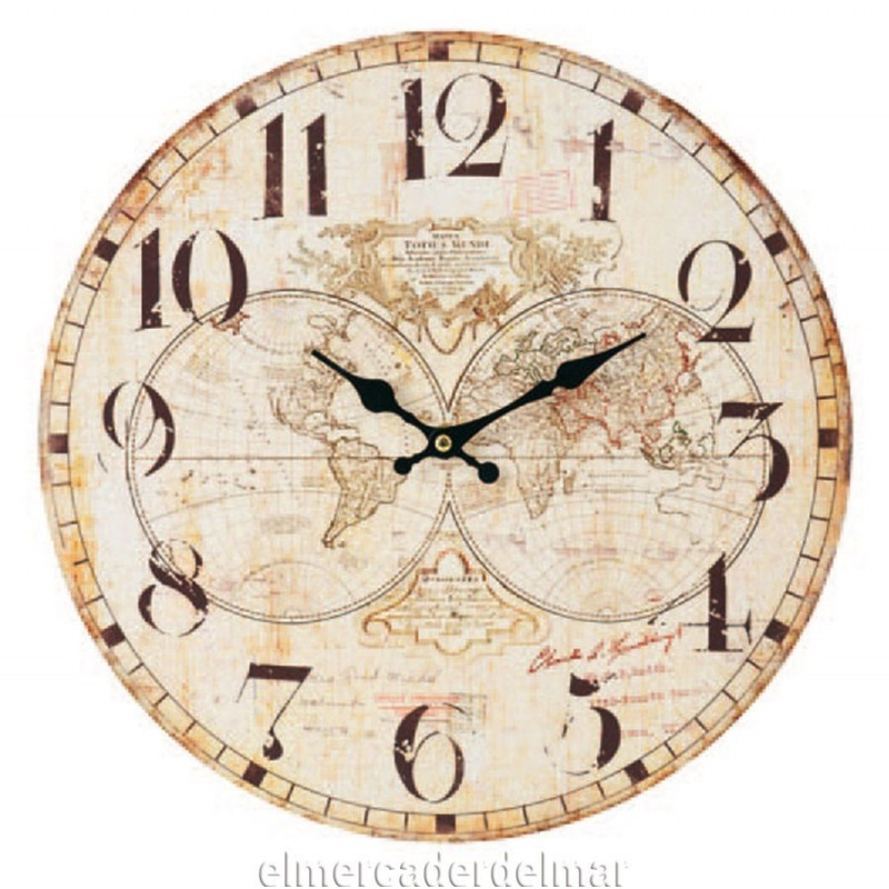Reloj de pared con esferas mapamundi - Reloj grande de pared ...
