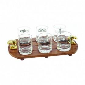 Bandeja náutica con seis vasos