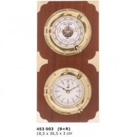 Reloj y barómetro portillo de latón y madera