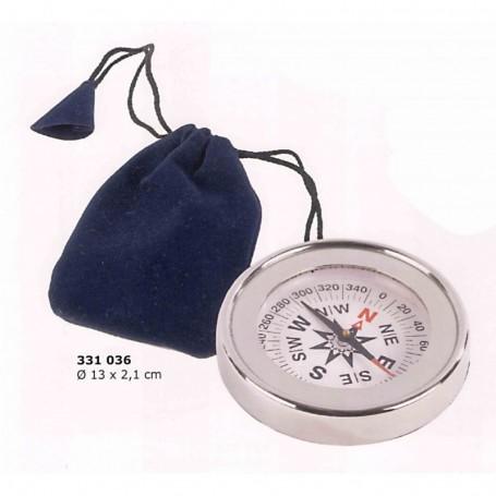 Brújula latón chapada níquel con bolsita azul