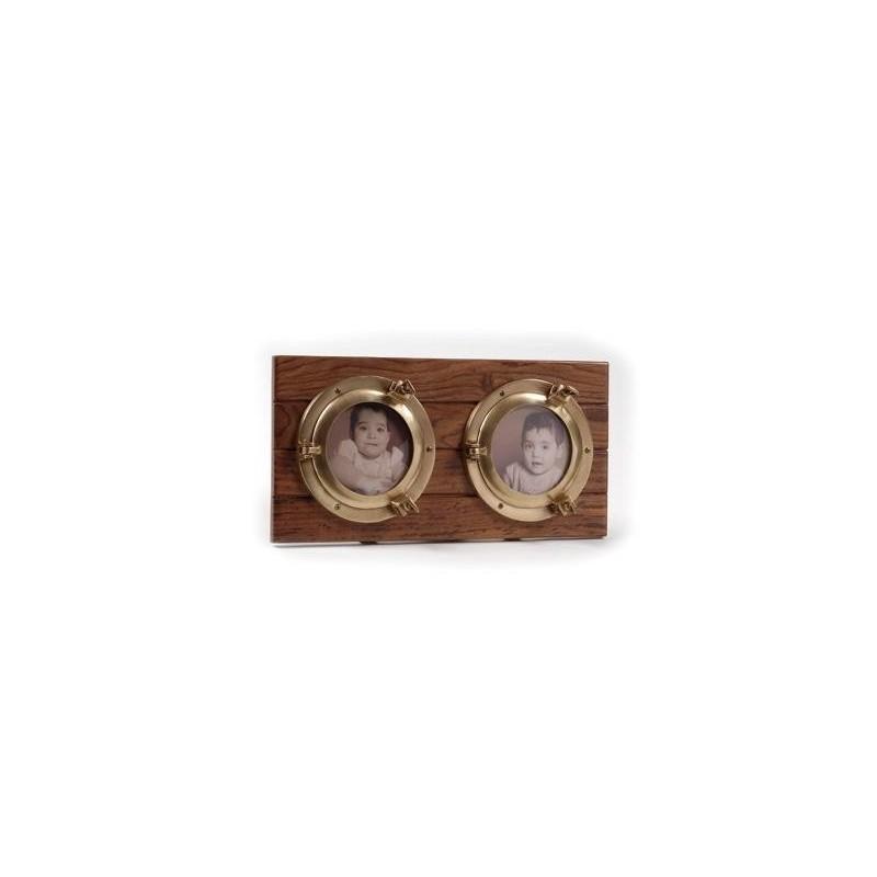 Portafotos con dos ojos de buey de latón sobre madera