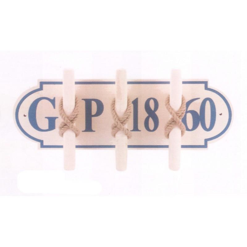 Perchero n utico placa de madera con tres cornamusas - Placa de madera ...