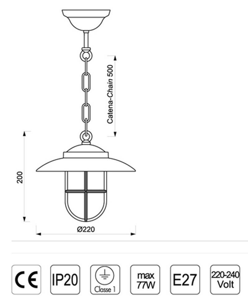 lámpara marinera de colgar en latón