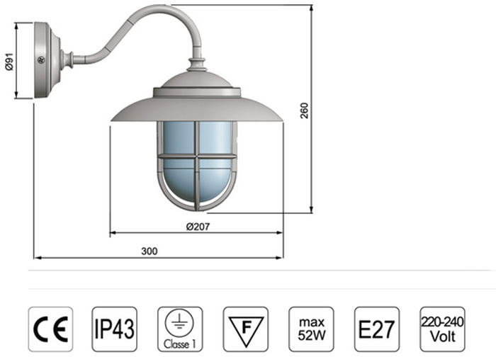 Lámpara aplique náutico latón de pared