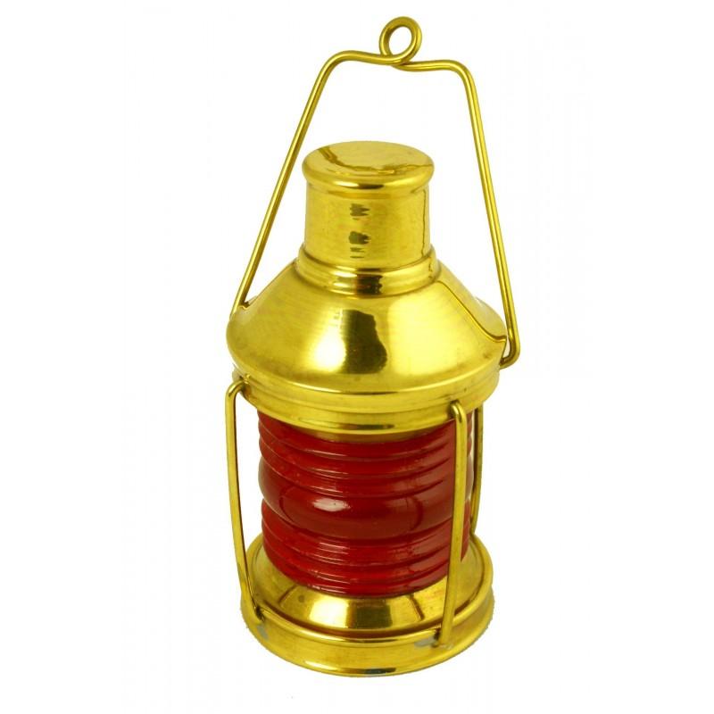Lámpara náutica en miniatura de peligro en latón