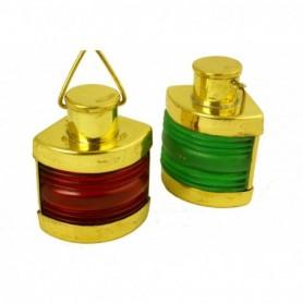 Lámparas náuticas en miniatura de babor y estribor en latón