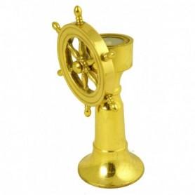 Bitácora náutica con rueda de timón en miniatura
