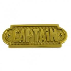 Placa náutica de latón Captain en ingles