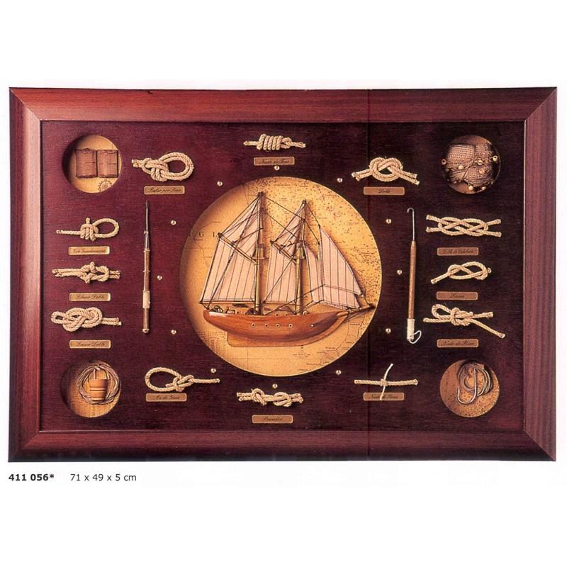 Cuadro de nudos marineros y barco - Nudos marineros decorativos ...
