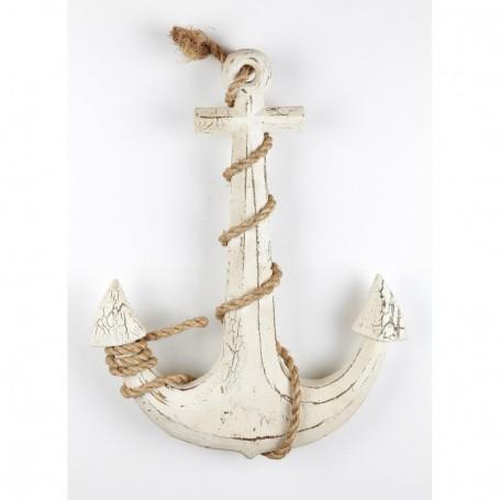 Ancla náutica de madera con cabo de cáñamo