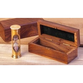Reloj de arena náutico en caja de madera