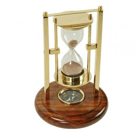 Reloj de arena de latón con brújula basculante