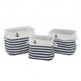 Tres cestas náuticas rayas azul y blanco