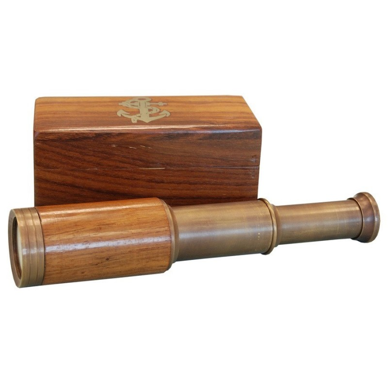 Catalejo náutico de madera y latón envejecido