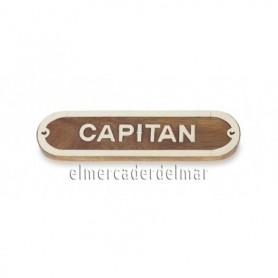 Placa marinera de madera y latón Capitan