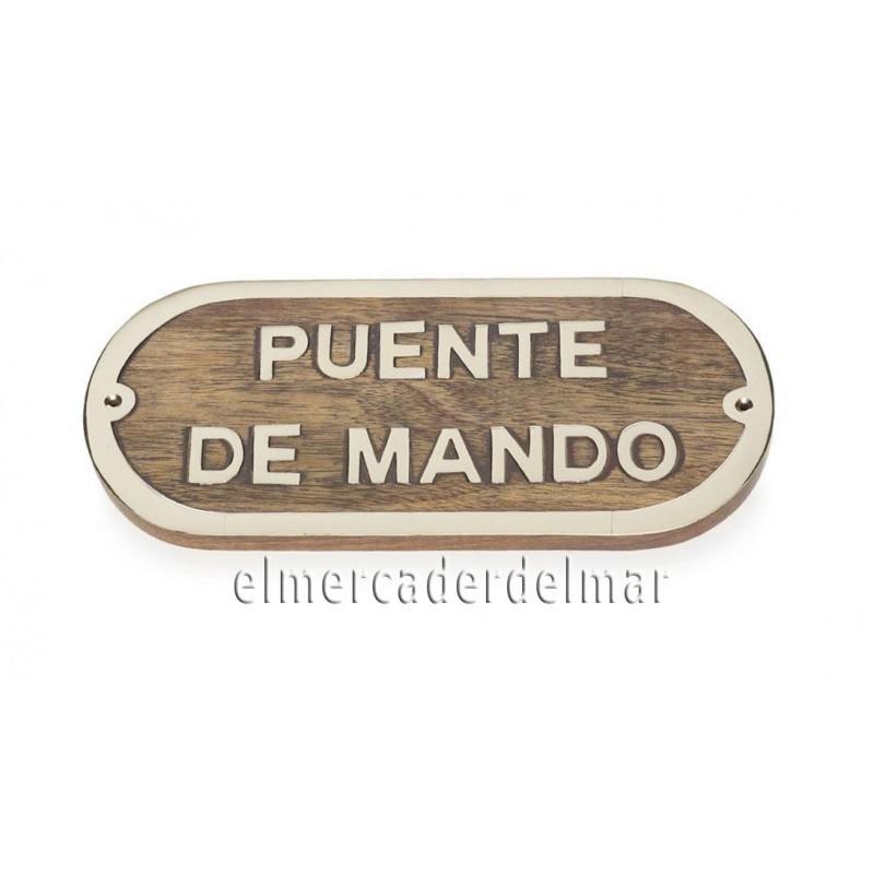 Placa náutica de madera con latón Puente de Mando