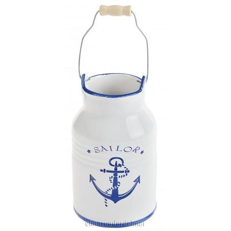 Florero marinero de cerámica blanca