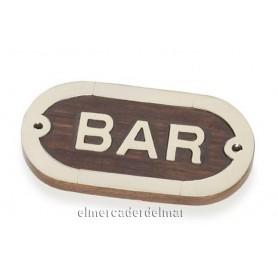 Placa náutica bar de madera con latón