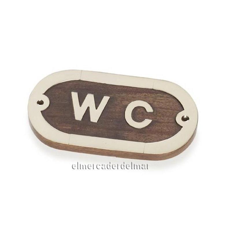 Placa n utica de madera con lat n wc - Placa de madera ...