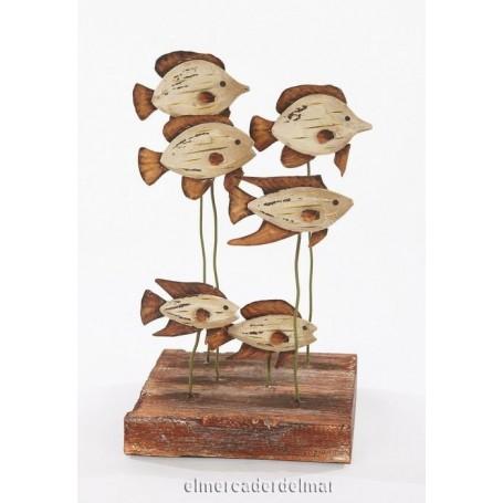 Decoración marinera peces en madera