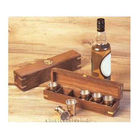 Caja náutica madera con 6 vasos chupitos