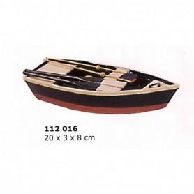 Maqueta de barca de pesca azul y roja