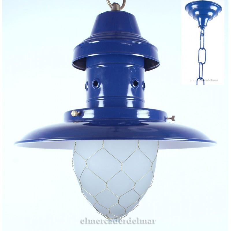lámpara marinera de pescador azul