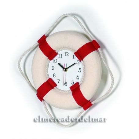 Boya aro salvavidas decorativo rojo con reloj