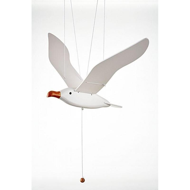 Pájaro móvil gaviota en madera para colgar
