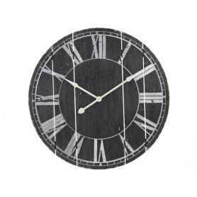 Reloj de pared en madera pintado negro rustico