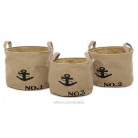 Conjunto 3 cestas náuticas ancla