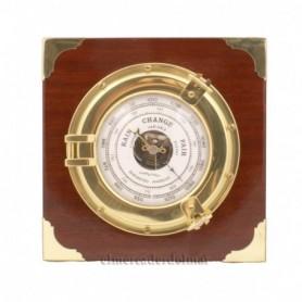 Barómetro ojo de buey latón con madera