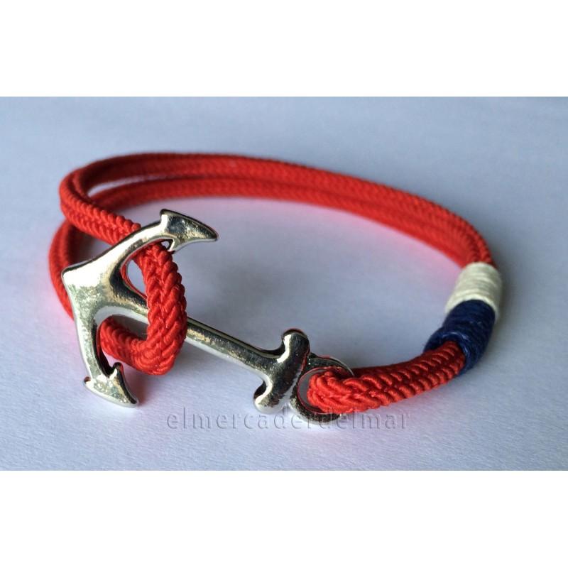065e46223def Pulsera marinera roja con ancla