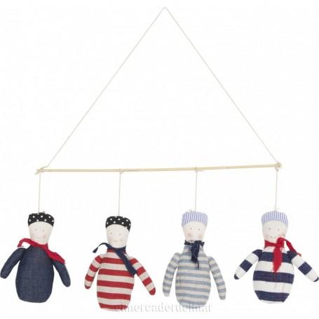 Móvil náutico infantil con 4 muñecos marineros
