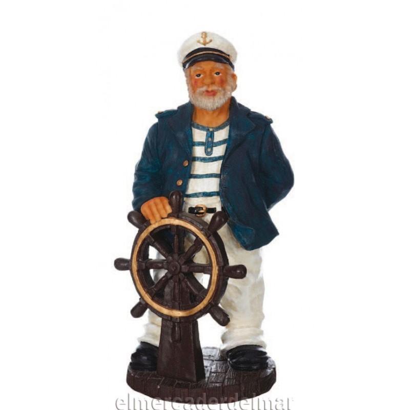 Figura marinera de capitán con timón