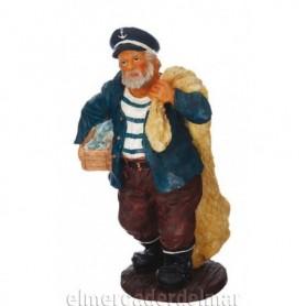 Figura náutica de marinero con caja de pescado y red