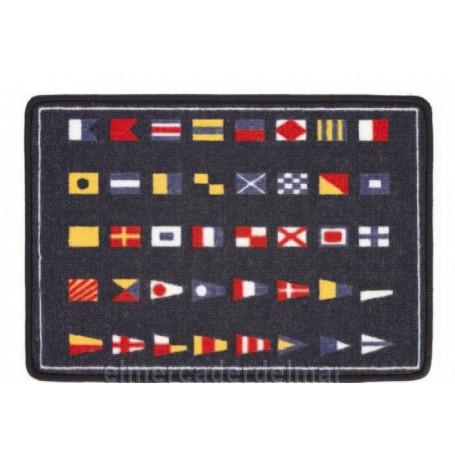 Alfombra marinera con banderas de señal