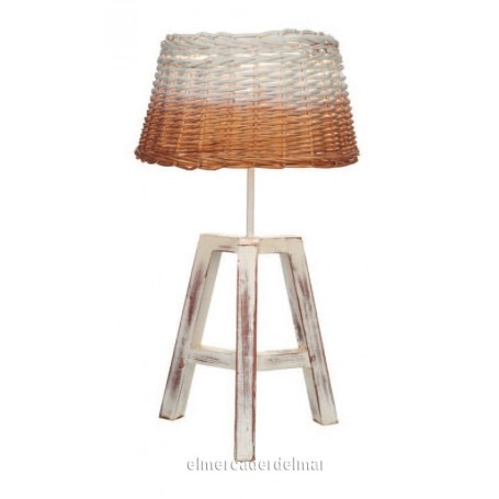 Lámpara estilo marinero de mimbre y madera
