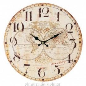 Reloj de pared con esferas mapamundi